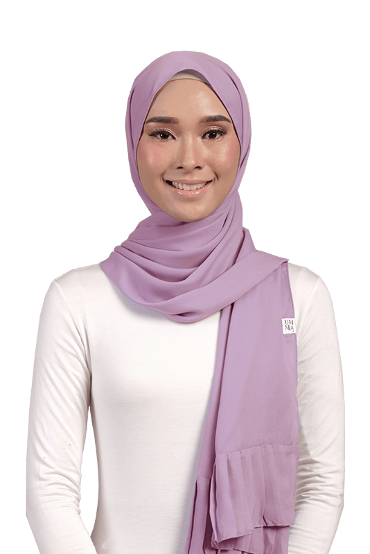 Larsa Pleated Chiffon Scarf in Lupine
